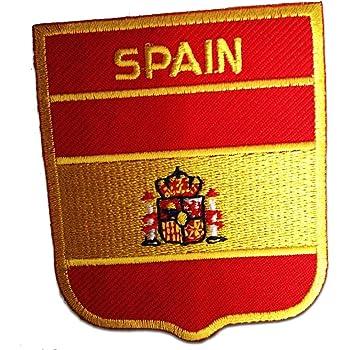 Parches - España bandera - amarillo - 6,2x7,5cm - termoadhesivos bordados aplique para ropa: Amazon.es: Hogar