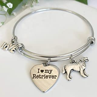 Golden Retriever or Labrador Charm Bangle - Expandable Dog Breed Bracelet for Animal Lovers