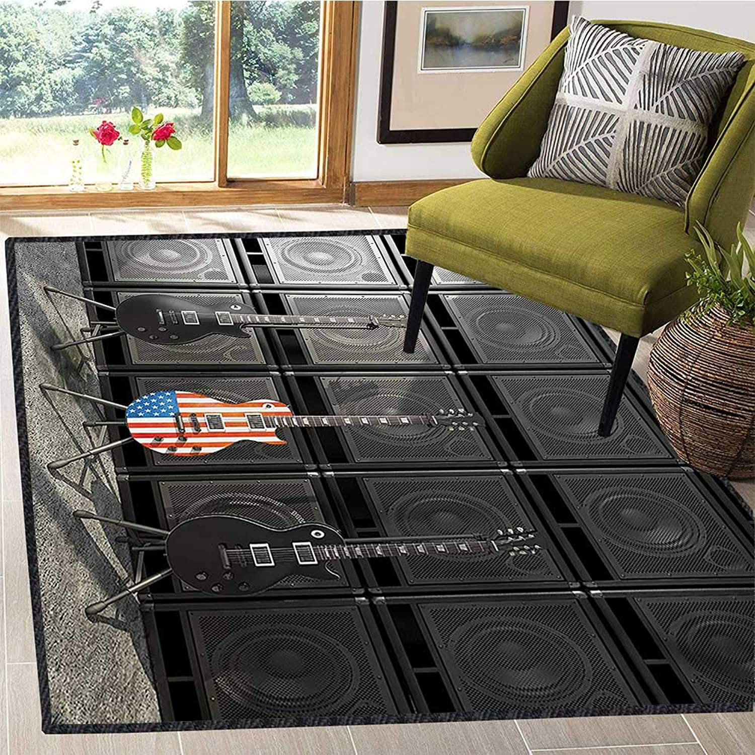 American Flag, Room Home Bedroom Carpet Floor Mat, Black and Us Bass Guitar Electronic Rock Music Theme Digital Graphic Work, Door Mats for Inside 4x5 Ft Multicolor