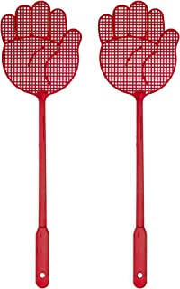 OFXDD Fly Swatter, Long Fly Swatter Pack, Fly Swatter Heavy Duty, Red Color Shape Palm (2 Pack)