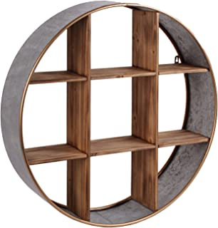 Urban Trends 54002 Metal Round Wall Shelf with Wood Divider/9 Slots/Painted Gold Edges Galvanized Finish, Gray