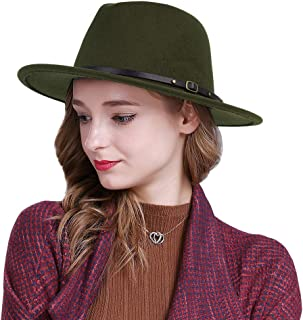 Guoo Women Belt Buckle Fedora Hat Wide Brim Vintage Wool Jazz Hat Panama Hat