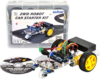 OSOYOO 2WD Robot Car Starter Kit for Arduino Board, with Tutorial DVD, Line Tracking Sensors, Bluetooth Module and IR Modules, Toy for DIY Learner