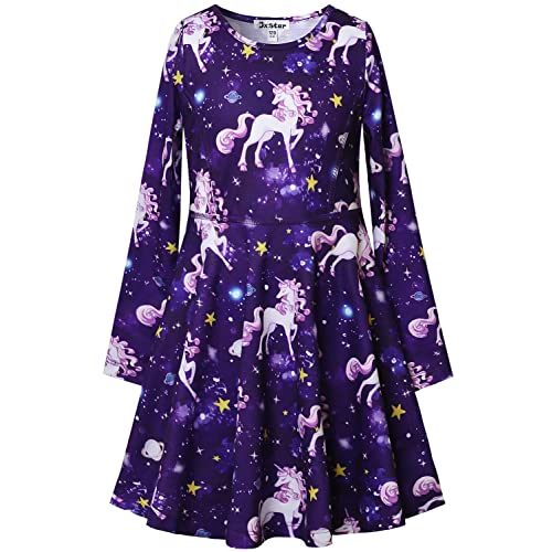 e6137fc76 Jxstar Girls Long Sleeve Dresses Kids Unicorn Clothes Cotton Outfits 3-13  Years