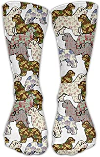 Dogs Patterns Floral Newfoundland Dog Fashion Warm Winter Socks Cotton Crew Socks One Size For Women And Men