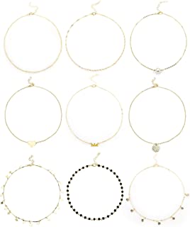 ORAZIO Chockers Necklaces for Women Girls Star Moon Pearl Bar Circle Heart Beaded Dainty Pendant Layered Necklace Set