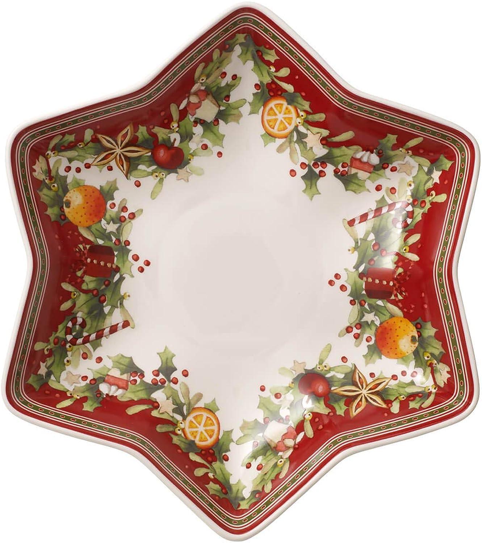 Villeroy & Boch Winter Bakery Delight Schale in Stern-Form auf Fu, Premium Porzellan, Wei Rot