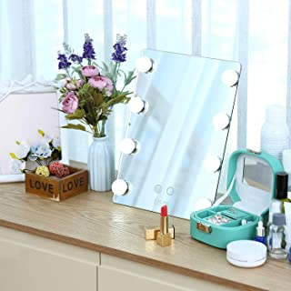 SKM Hollywood Makeup Vanity Mirror with Lights, Large Vanity Makeup mirror with 2 Colors 8 Dimmable LED Bulbs and Touch Control, LED Cosmetic Mirror, Wall Mounted Lighting Mirror(10 x 13 inches)