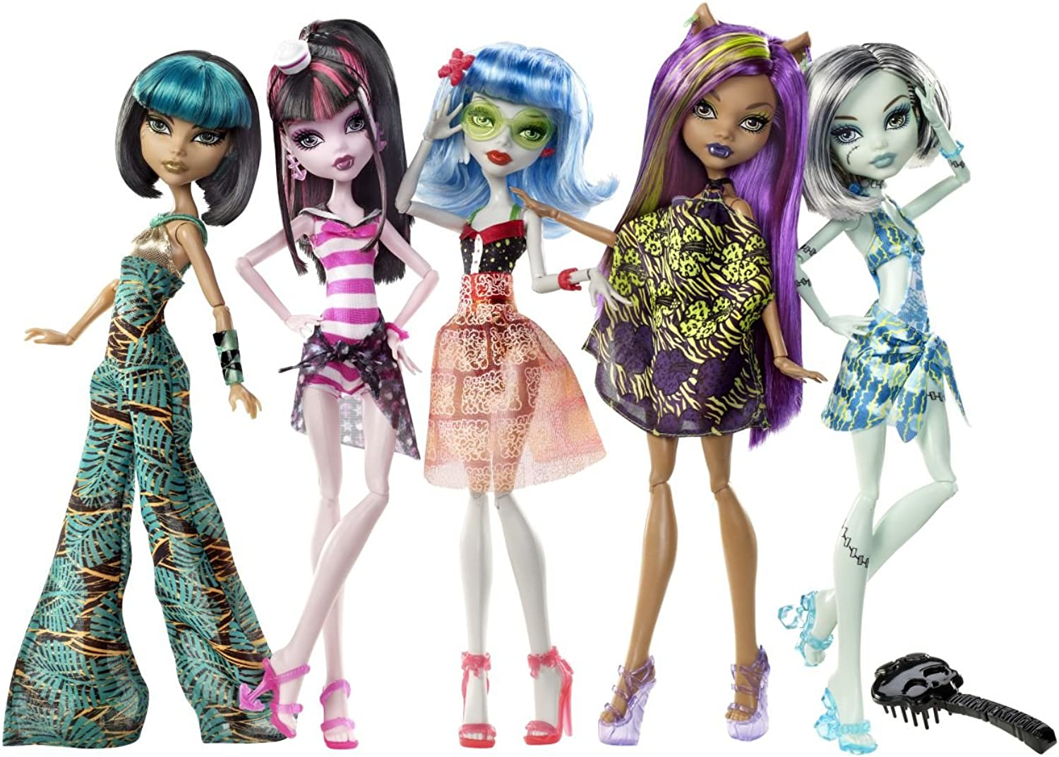 Monster High Skull Shores Ghoulia, Frankie, Clawdeen, Cleo De Nile & Draculaura Set Of 5