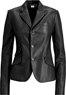 VearFit Three-Button Blazar Double Pocket Classic Pink, Gray, Red, Black and Tan Women Leather Coat
