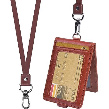 smatime Porte Badge Carte Titulaire de Carte D'identité Porte Badge D'identification en Cuir Protection Pochettes avec Cordon pour Carte de Crédit Étudiant Visite, 3 Carte Fente & 2 ID Fenêtre, Marron