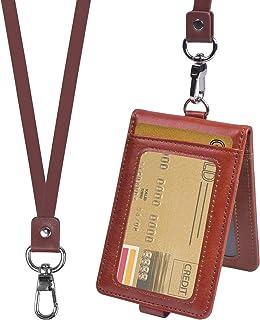 smatime Porte Badge Carte Titulaire de Carte D'identité Porte Badge D'identification en Cuir Protection Pochettes avec Cor...