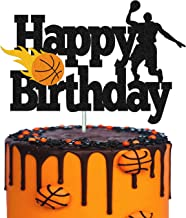 Basketball Cake Topper Happy Birthday Sign Basketball Player Scene Themed for Man Boy Birthday Party Supplies Double Sided...