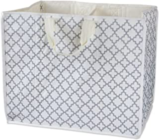 DII Multi-Purpose Storage Tote With Two Compartments For Car, Beach, Laundry, & More, Lattice Gray - Large