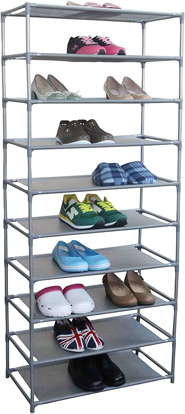 shaofu 10 Tier Shoe Rack Floor ハイクオリティ - Adjustable Organizer 卓出 Stora