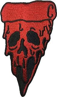 Pizza Skull (RED) size 6x10.5cm. biker heavy metal Horror Goth Punk Emo Rock DIY Logo Jacket Vest shirt hat blanket backpack T shirt Patches Embroidered Appliques Symbol Badge Cloth Sign Costume Gift