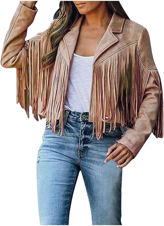 KYLEON Women's Coat Long Sleeve Fringe Faux Suede Tassels 60s 70s Hippie Clothes Open-Front Cardigan Jacket Blouse Tops