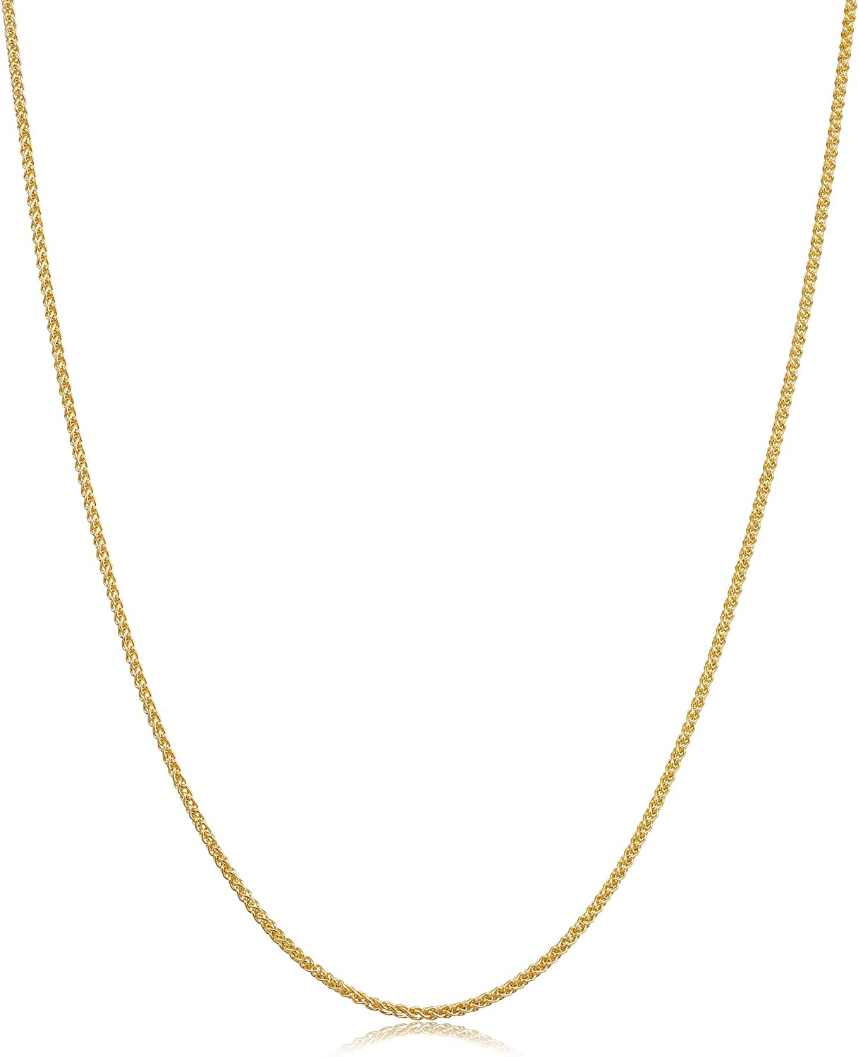 Kooljewelry Solid 14k Yellow Gold 1.2 mm Round Wheat Chain Necklace (16, 18, 20, 24, 30 or 36 inch)
