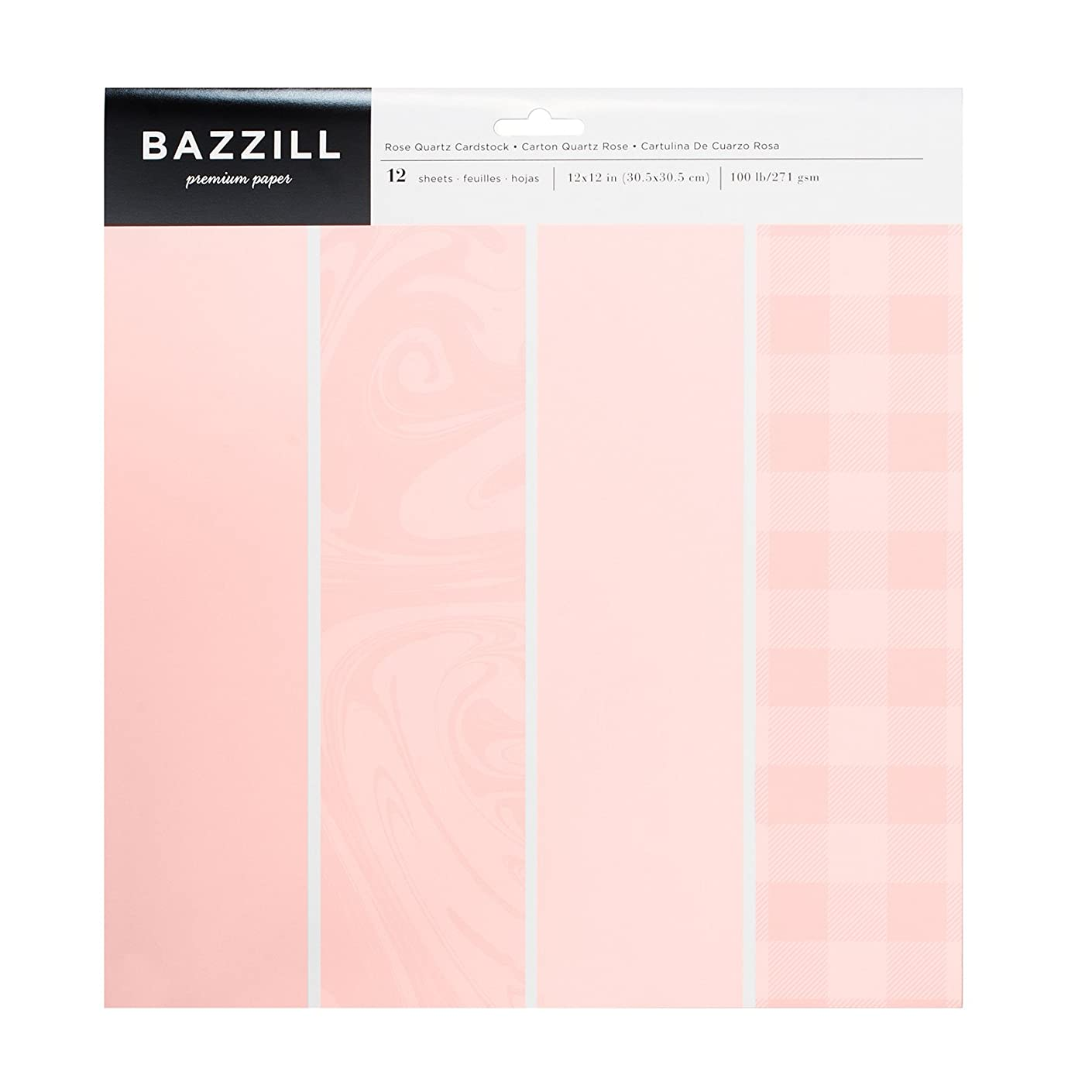 American Crafts Bazzill Basics 12 x 12 Inch Carstock Pack Rose Quartz 12 Piece