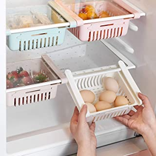 Retractable Drawer Organizer, Keep Tidy Shelf Organiser for Vegetables and Fruits (4 Pcs)