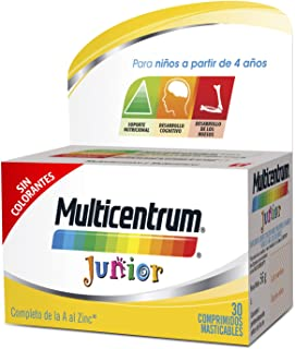 MULTICENTRUM Junior. Complemento Alimenticio con 12 Vitaminas y 4 Minerales. para Niños a partir