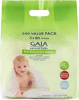 GAIA Skin Naturals Bamboo Baby Wipes, 240 Piece