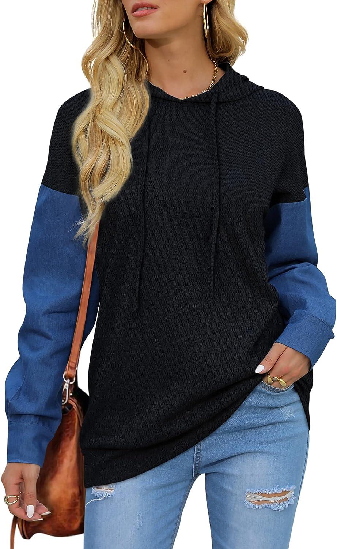 Aloodor Color Block Hoodies for Womens Crewneck Sweatshirts with Drawstring