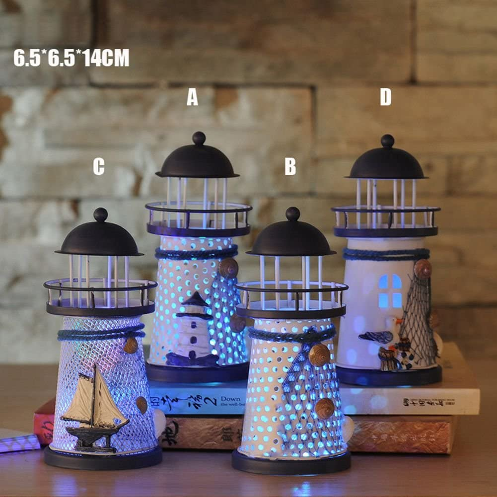 Hankyky Nautical Decor LED Seven Colors Iron Lighthouse Nautical Themed Rooms Lighthouse Home Decor Rooms