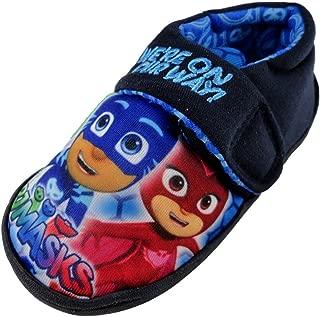Boys Licensed P J Masks Navy Blue House Slippers Kids Hook & Loop UK Sizes 4-10