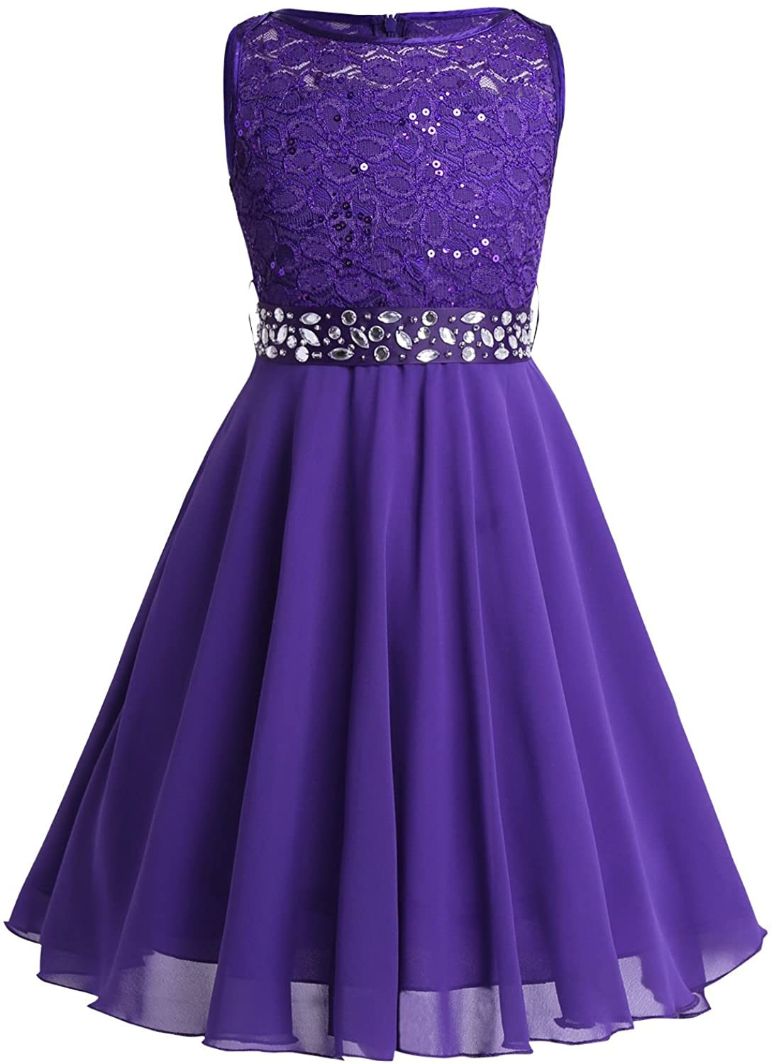 zdhoor Kids Floral Lace Flower Girls Dress Sleeveless Princess Wedding Pageant Party Gowns with Sequined Belt
