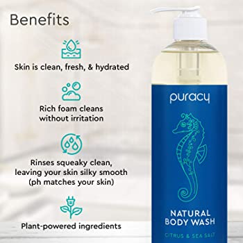 Puracy Body Wash, Citrus & Sea Salt, Natural Bath & Shower Gel for Men and Women, 16 Ounce (2-Pack)
