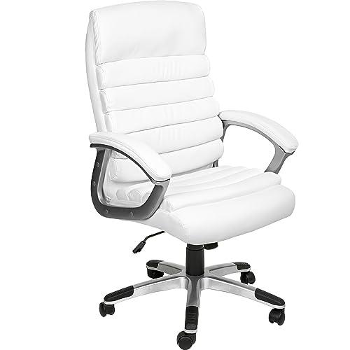 TecTake Chaise de Bureau Fauteuil de Direction Hauteur réglable   Design ondulé   diverses Couleurs au Choix (Blanc   no. 402151)