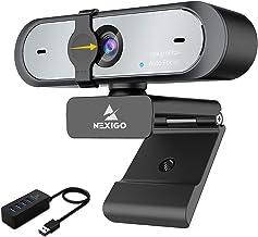 AutoFocus 1080P 60FPS Webcam with 4-Port USB 3.0 Hub, NexiGo FHD USB Web Camera with Microphone, Privacy Cover, High-Speed...
