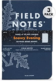 Field Notes: Snowy Evening - 3 Pack - Dot Grid Memo Books, 3.5 x 5.5 Inch