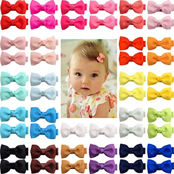 "50 Pieces 25 Colors in Pairs Baby Girls Fully Lined Hair Pins Tiny 2"" Hair Bows Alligator Clips for Girls Infants Toddlers"