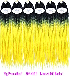 MSBELLE 6 Packs/Lot 100g/Pack 22 Strands/Pack Box Braids Crochet Hair Extensions 3X Style Synthetic Braiding Hair Extensions 24 Inch (Black-Bright Yellow)