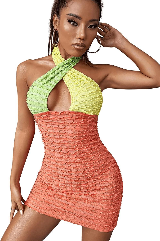 Romwe Women's Color Block Sleeveless Open Back Cutout Halter Mini Bodycon Dress Clubwear