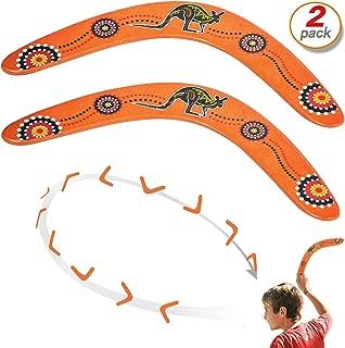 Yo-fobu 2pcs Wood Boomerang Hand Crafted Flying Boomerang by Austalian National Aboriginal Design