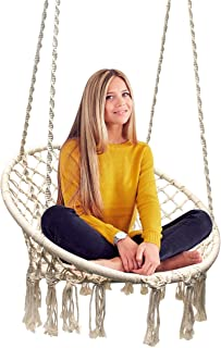 Sorbus Hammock Chair Macrame Swing 265 Pound Capacity Perfect for Indoor/Outdoor Home Patio Deck Yard Garden