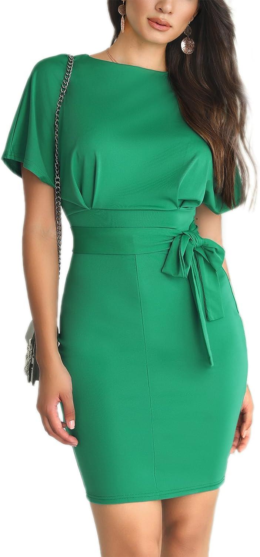 Senggeruida Women Solid Waist Belted Mid-Calf Slip Bodycon Dress