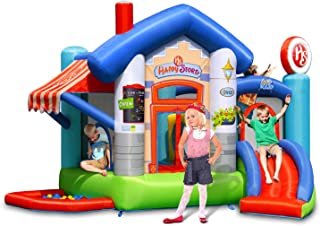 ACTION AIR Bounce House, Inflatable Bouncer with 30 Pit Balls, Jumping Castle with Slide, Family Backyard Bouncer, Durable Sewn with Extra Thick Material, Idea for Kids (9415)