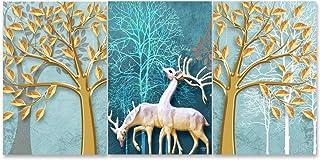 Rangoli Wood Animals Painting, Multicolour, Abstract, 12x19 inch