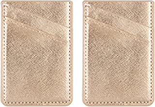 Obbii 2 Pack Rose Gold PU Leather Card Holder for Back of Phone with 3M Adhesive Stick-on Credit Card Wallet Pockets for iPhone and Android Smartphones