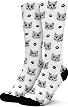 Non Slid Elastic Girl's Socks Cute-Cat-Face-And-Paw-White-Background-Art Active Custom Socks