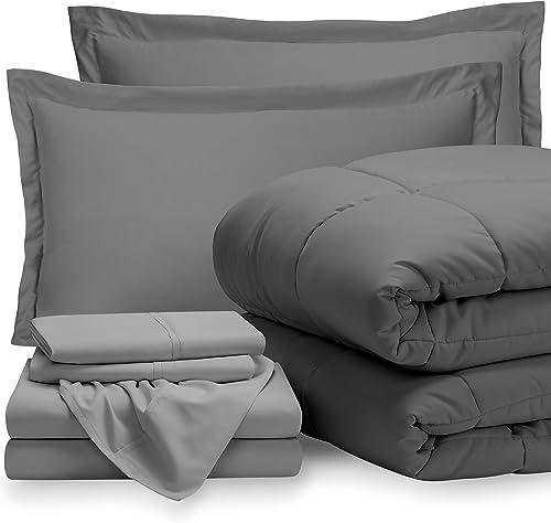 Bare Home Bedding Set 7 Piece Comforter & Sheet Set - California King - Goose Down Alternative - Ultra-Soft 1800 Prem...
