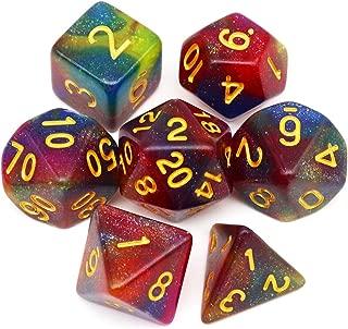 Haxtec 7PCS DND Dice Set Polyhedral D&D Dice of D20 D12 D10 D8 D6 D4 for Dungeons and Dragons TTRPG Games (Multiple Colors(Universe))