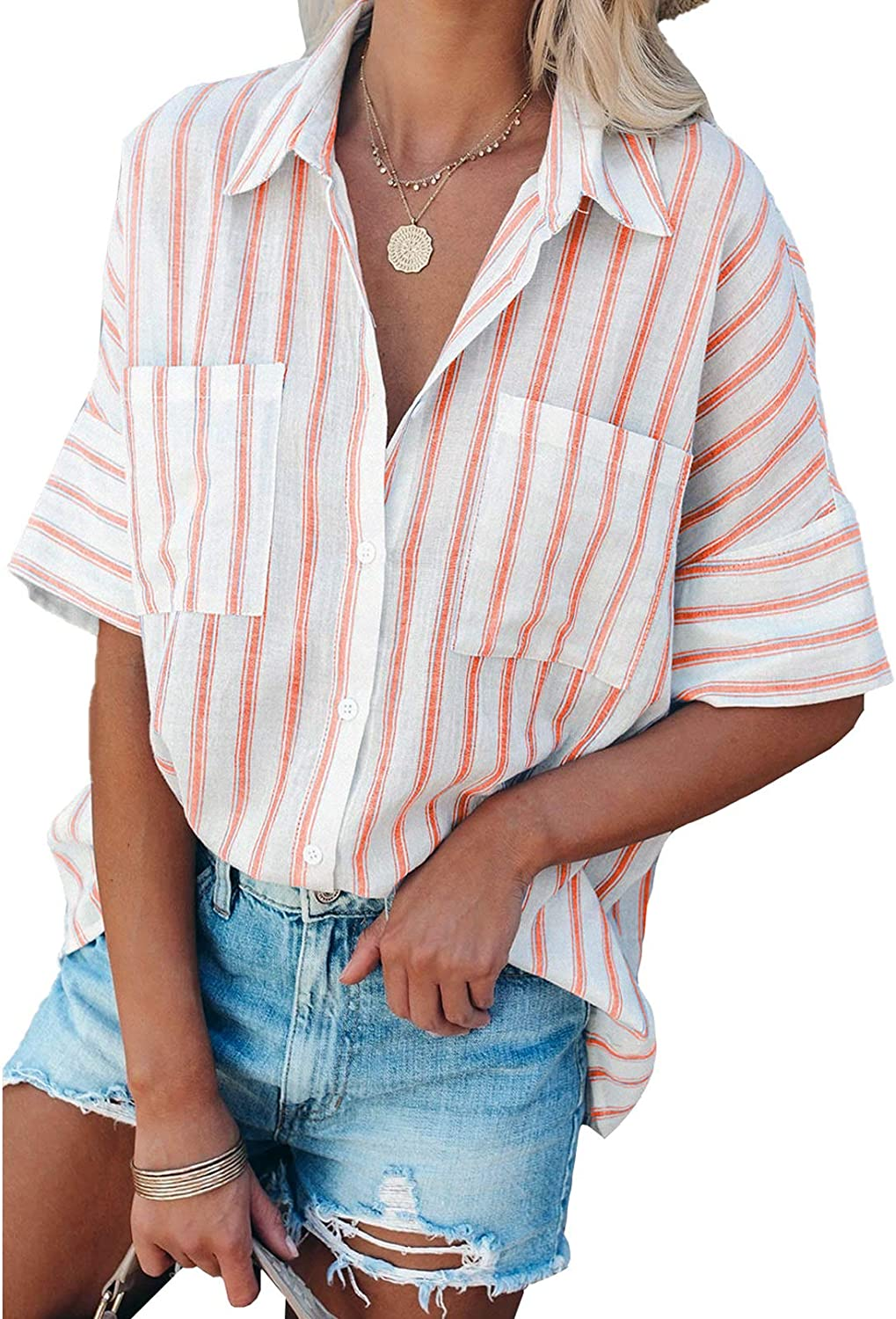 Ranking TOP7 FARYSAYS Womens Striped Button Down Shirts Neck V Ov Max 43% OFF Long Sleeve