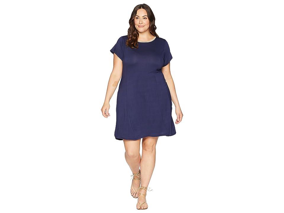 MICHAEL Michael Kors Plus Size Cap Sleeve Seam Mini Dress (True Navy) Women