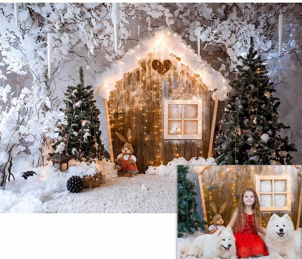Color : G, Size : 210X150cm QERNTPEY Photo Backdrops 3D Christmas Photography Backdrop Snow Tree Decorations for Home Christmas Background Photo Background Photographer Props