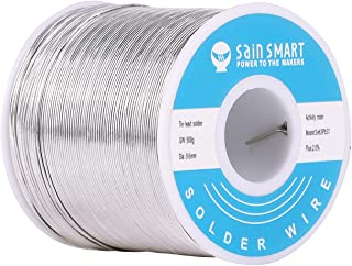 SainSmart 0.6mm Solder Wire 63/37 Tin/Lead Sn63Pb37 with Flux Rosin Core for Electrical Soldering (500g /1.1lbs)